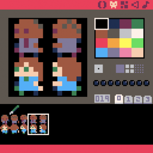 First characters and pen sprite in Pico-8 Editor.